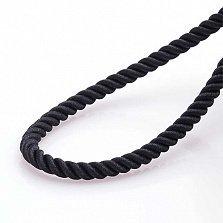 Рельефный шелковый шнурок Спаси и сохрани с серебряной застежкой, 4мм