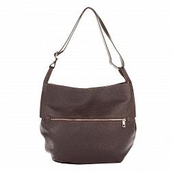 Кожаная сумка на каждый день Genuine Leather 8695 коричневого цвета на молнии с регулируемым ремнем