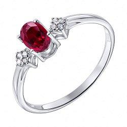 Серебряное кольцо с рубином и фианитами 000135981