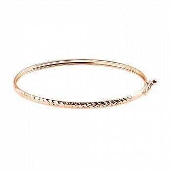 Литой браслет из красного золота с насечками 000117426