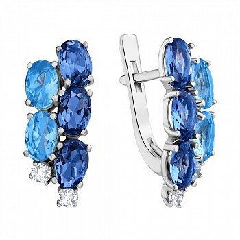 Серебряные серьги с кварцем под лондон топаз, голубым кварцем и фианитами 000063601
