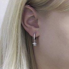Серебряная моно-сережка Полярная звезда с белым цирконием