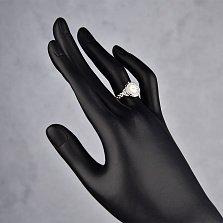 Серебряное кольцо Ролекс в виде часов с белыми эмалью и фианитами