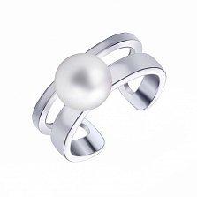 Серебряное кольцо Жемчужинка с двойной разомкнутой шинкой