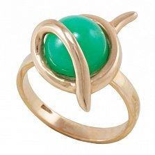 Золотое кольцо Джейн в красном цвете с хризопразом
