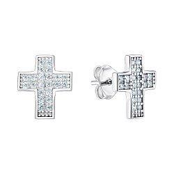 Серебряные серьги-пусеты с фианитами 000150203