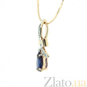 Подвес из красного золота с бриллиантами и сапфиром Анжела ZMX--PDS-5535_K