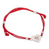 Шелковый браслет со вставкой Сердце-корона Eva