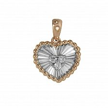Кулон из красного и белого золота Сердце с бриллиантами