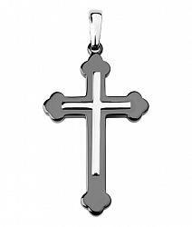 Серебряный крестик без распятия с черной керамикой 000130928