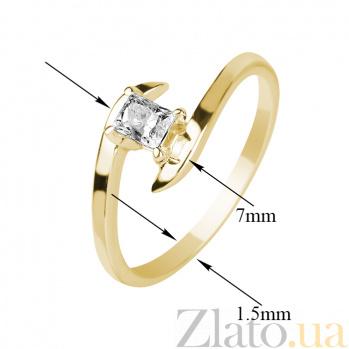 Кольцо в желтом золоте Принцесса с бриллиантом 000079293