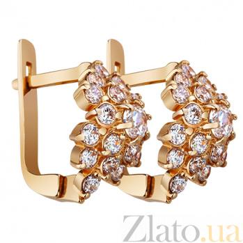 Золотые серьги с фианитами Габриэлла AUR--32378