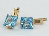 Золотые серьги с голубым топазом Ирма