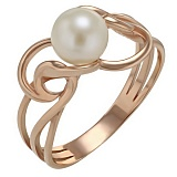 Золотое кольцо Ариадна с жемчугом
