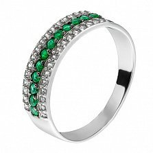 Серебряное кольцо с изумрудами Белла