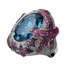 Золотое кольцо с топазом, сапфирами и бриллиантами Водный мир