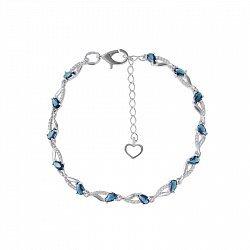 Серебряный браслет с синим кварцем и белыми фианитами 000102877