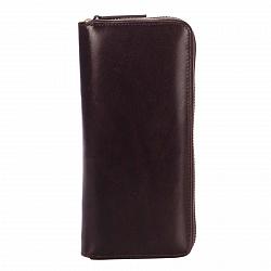 Кожаный кошелек Genuine Leather gf022 коричневого цвета на молнии с отделением для монет