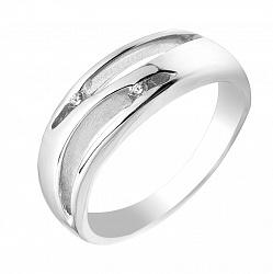 Серебряное кольцо Стайси с бриллиантом и узорной шинкой