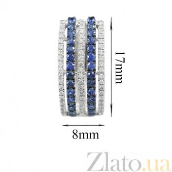 Золотые серьги с сапфирами и бриллиантами Параллели 000026628