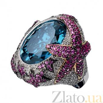 Золотое кольцо с топазом, сапфирами и бриллиантами Водный мир KBL--К1794/бел/топ