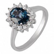 Серебряное кольцо с Лондон топазом и фианитами