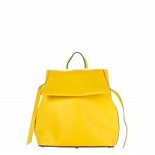 Кожаный рюкзак Genuine Leather 8945 желтого цвета с клапаном на магнитной кнопке