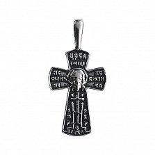 Серебряный крест Божественные лики с чернением