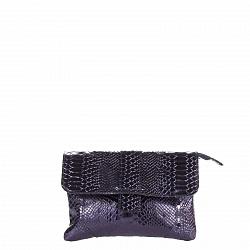 Кожаный клатч Genuine Leather 1608 темно-синего цвета с принтом рептилии и клапаном на магните