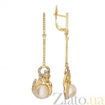 Серьги-подвески из желтого золота Королева морей VLT--ТТ2482