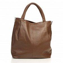 Кожаная сумка на каждый день Genuine Leather 8839 цвета кешью на молнии с дополнительным ремнем
