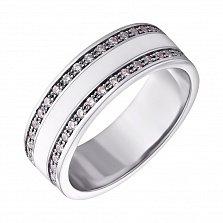 Серебряное кольцо Молочная река с белой эмалью и фианитами