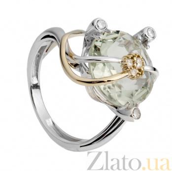 Серебряное кольцо с зеленым кварцем и цирконием Мэддисон 000030030