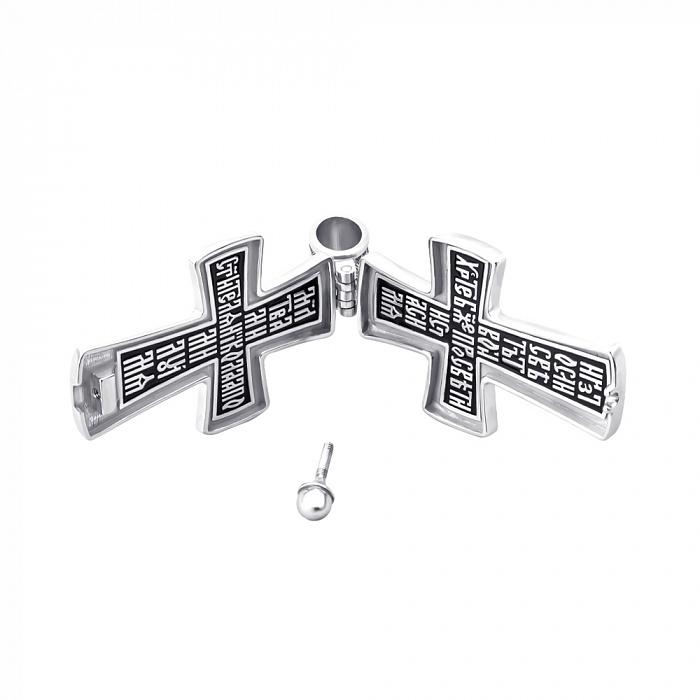 Серебряный раскрывающийся крестик с эмалью и молитвой 000138802 000138802