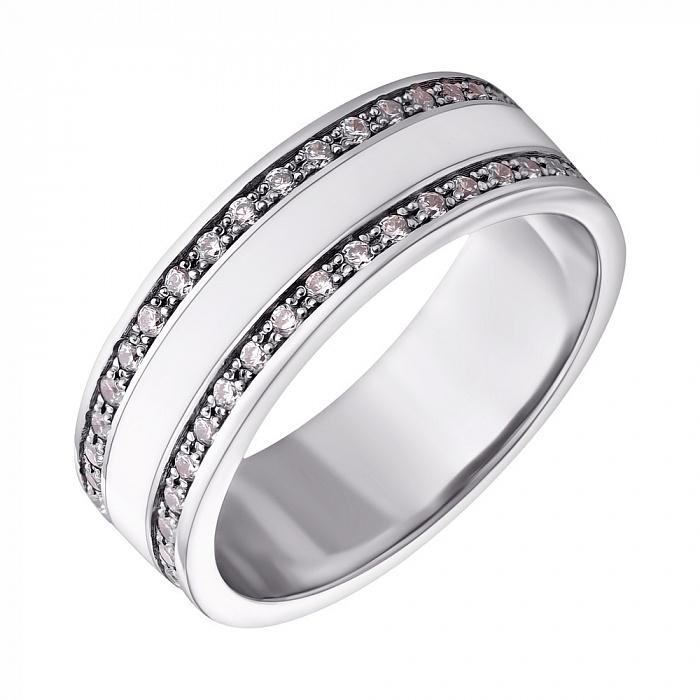 Серебряное кольцо Молочная река с белой эмалью и фианитами 000072662