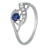 Серебряное кольцо с синим фианитом Аделхайд
