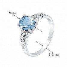 Серебряное кольцо Гелена с голубым кварцем и белыми фианитами