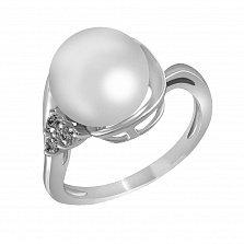Кольцо из белого золота Марисса с пресноводным жемчугом и бриллиантами