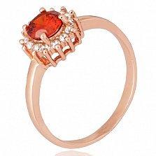 Позолоченное серебряное кольцо с красным фианитом Джаухар
