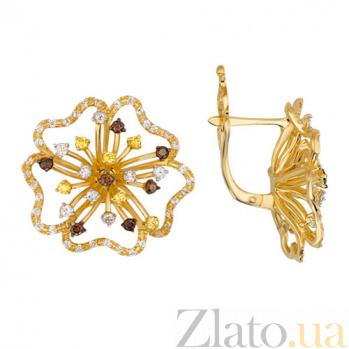 Серьги из желтого золота с фианитами Орхидея VLT--Т2289
