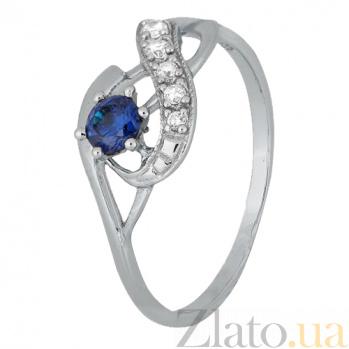Серебряное кольцо с синим фианитом Аделхайд 000028138