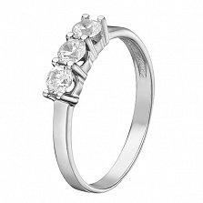 Золотое кольцо Милана в белом цвете с фианитами
