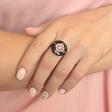 Золотое кольцо Агра с агатом, цирконием и эмалью