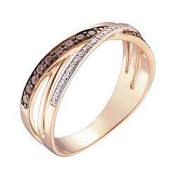 Кольцо из красного золота Мирра с черными и белыми фианитами