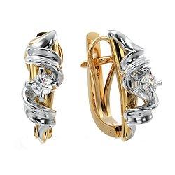 Золотые серьги Афродита в комбинированном цвете с белыми бриллиантами