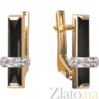 Золотые серьги с агатом и фианитами Мосты любви 000024535