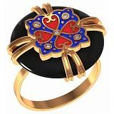 Золотое кольцо Маджора с агатом, фианитами и эмалью