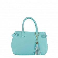 Кожаная деловая сумка Genuine Leather 8927 бирюзового цвета на молнии, с декоративной кистью