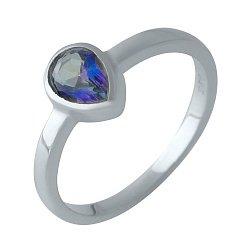Серебряное кольцо с топазом мистик и родированием 000128877