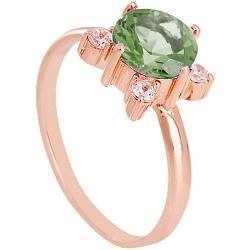Золотое кольцо Ванда с синтезированным аметистом и фианитами  000029478